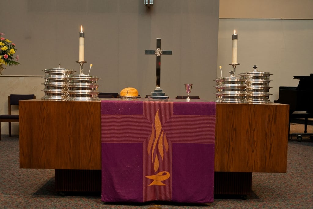 The table is set for the eucharist