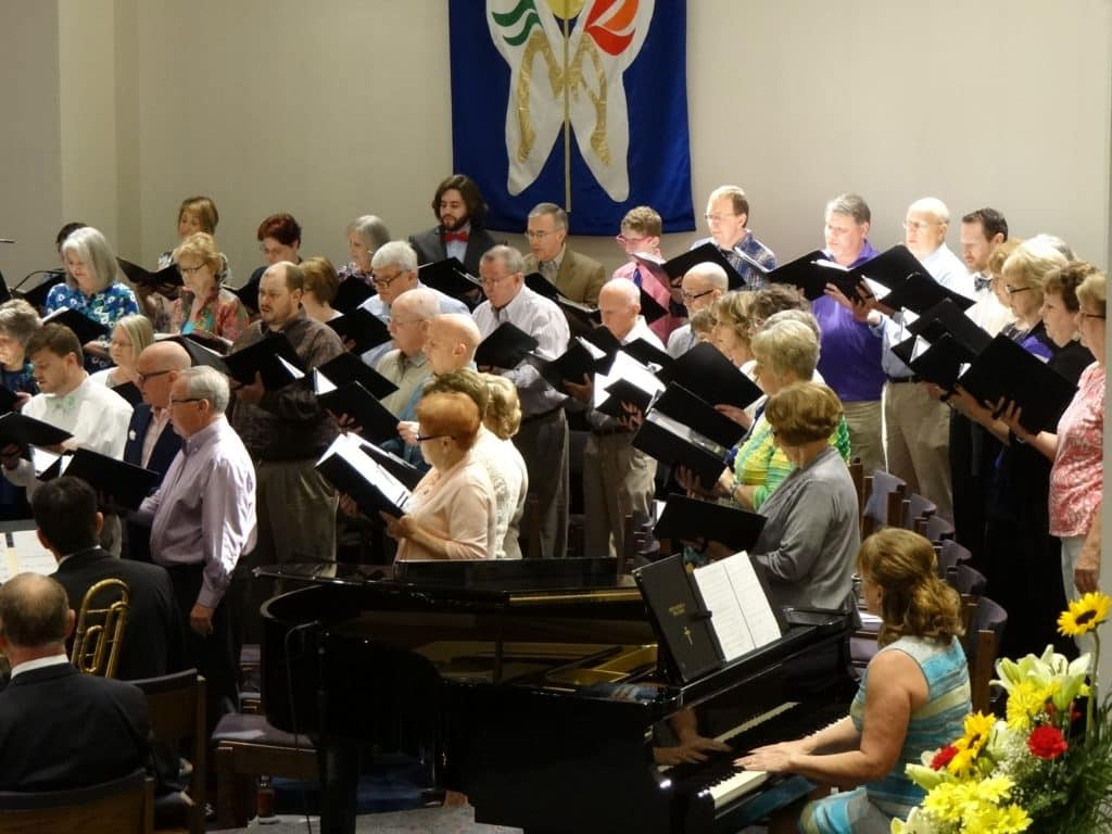 The church choir singing a standard